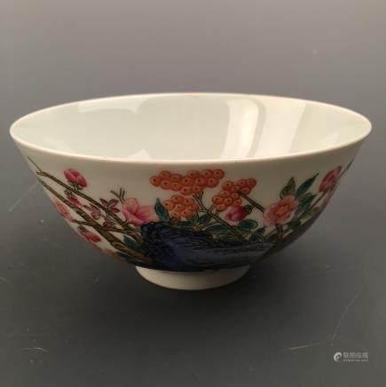 Chinese Famille Rose 'Bird' Bowl, Yongzheng Mark