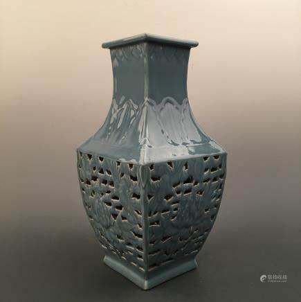 Chinese Azure Glazed Square Vase Openwork, Qianlong Mark
