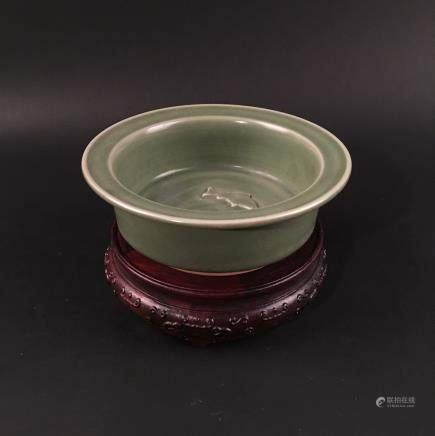 Chinese Longquan Celadon Flatted Rim Double-Fish Bowl