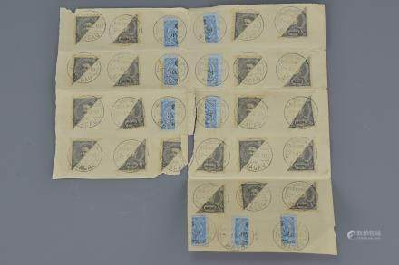 Sheet of Thirty Macau Vertical and Horizontal Bisect King Carlos Postage Stamps with postmarks dated 1910