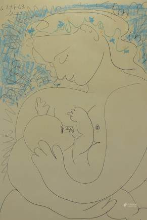A framed print Pablo Picasso 'Grand Maternity' 1963. Depicting mother and her child. 63cm x 48cm including frame.