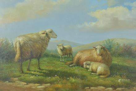 Oil Painting of Sheep in a Landscape signed K Williams, 33cms x 42cms, framed and glazed
