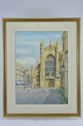 Anthony Stevens, Watercolour of Bath Abbey, signed lower right and dated 1988, 41cms x 56cms, framed and glazed