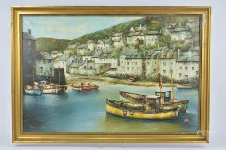 Oil Painting on Canvas of Harbour Scene signed lower left Folland, 49cms x 75cms, framed