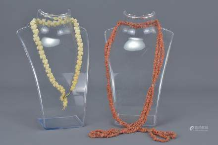 Three Strand Coral Bead Necklace together with Carved Bone Bead Necklace