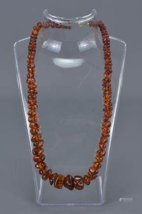 Baltic Clear Amber Bead Necklace containing 86 Graduating Beads, approx. 28 grams