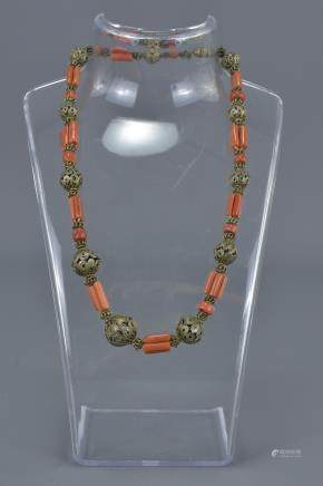Ethnic Coral Bead Necklace with Metal Wirework Beads and Spacers