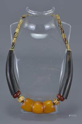 Ethnic Necklace with Amber Coloured, Wooden and Stone Beads