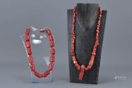 Two Coral Coloured Red Stone Bead Necklaces
