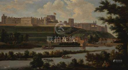 Circle of Hendrik Danckerts A VIEW OF WINDSOR CASTLE WITH THE RIVER THAMES