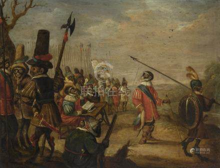 Manner of David Teniers the Younger A MONKEY REGIMENT