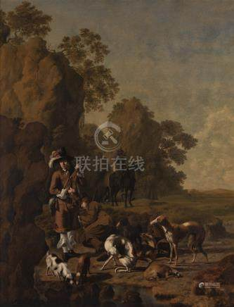 Johan le Ducq SPORTSMEN RESTING WITH THEIR HOUNDS IN A ROCKY LANDSCAPE