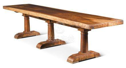 A walnut refectory table, late 19th century