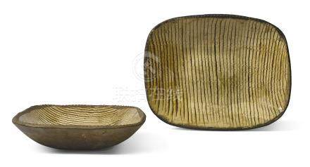 A pair of Staffordshire slipware baking dishes, 18th century