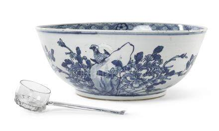 A Chinese blue and whitepunchbowl