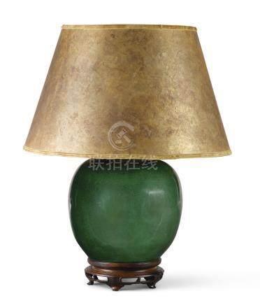 A Chinese crackled emerald green globular vase lamp, third quarter 20th century