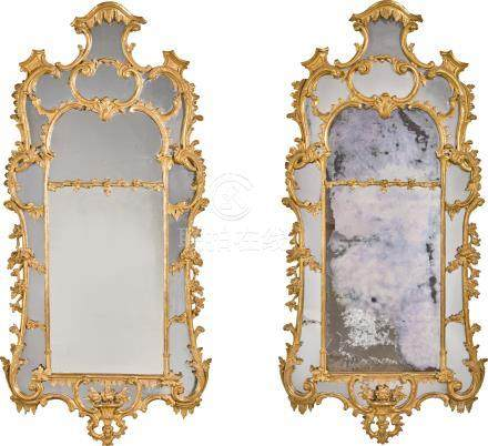 A pair of George II carved giltwood pier mirrors, circa 1755, manner of John Linnell