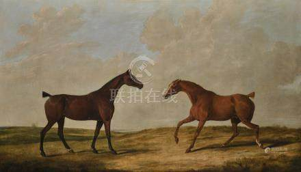 Attributed to James Barenger TWO HUNTERS IN A LANDSCAPE