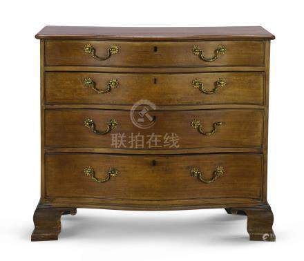 A George III mahogany serpentine chest of drawers, circa 1760