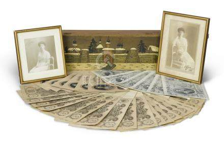 [Grand Duchess Olga Alexandrovna]Two autographed studio photographs, both dated 1912 and signed by the sitter