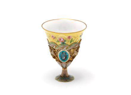 A 19th century Swiss gold and enamelled zarf