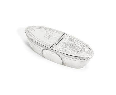 A George III silver snuff box the covers with the mark of Dorothy Langlands, Newcastle circa 1800, the base marked 'RH' twice