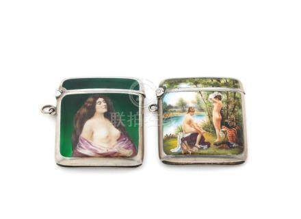 Two erotic silver and enamel vesta cases the first with import marks for London 1902; the other with import marks for London 1904  (2)