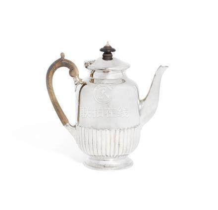 A Victorian silver coffee pot by Barnards, London 1886; together with further items
