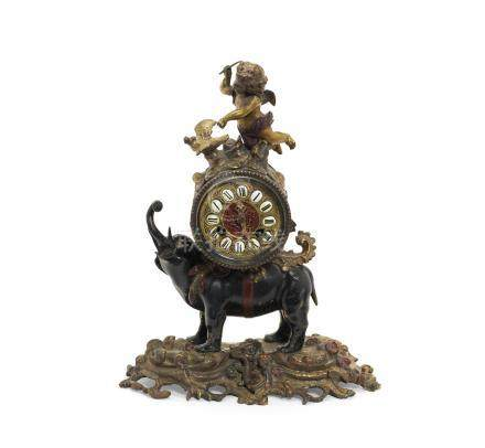 A late 19th century French patinated and gilt bronze figural mantel clock in the 18th century taste, the movement stamped Japy Freres