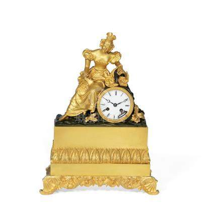 A Charles X gilt and patinated bronze figural mantel clock of a young maiden, circa 1830, signed Petit a Paris