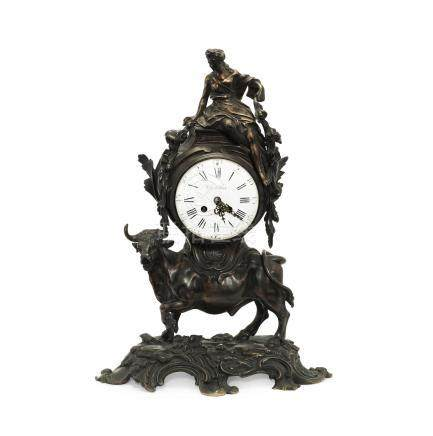 A late 19th century French patinated bronze figural Europa and the Bull mantel clock the dial signed Thuillier a Paris