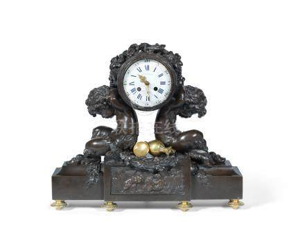 A late 19th century patinated bronze figural mantel clock the dial signed Victor Paillard, Paris