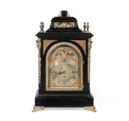 A late 19th century ebonised triple fusee chiming bracket clock the dial signed Bennett Brothers, Liverpool