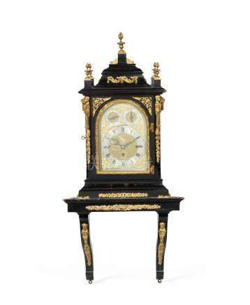 A late Victorian gilt bronze mounted and ebonised triple fusee chiming bracket clock and bracket the dial signed Chas Frodsham & Co 2