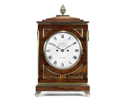 A Regency rosewood and brass inlaid twin fusee Bracket Clock the dial signed Viner & Co, Royal Exchange, London