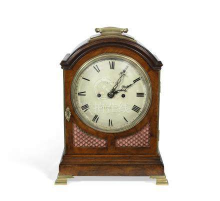 An early 19th century mahogany and brass bound twin fuse bracket clock the dial signed Heitszman, Cambridge