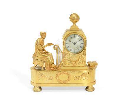 A Regency gilt bronze figural mantel timepiece depicting the allegory of love the movement signed F Batens, Gerrard Street, London