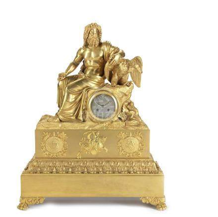 An impressive early 19th century French gilt bronze figural mantel clock