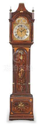 A late 18th century and later mahogany and inlaid and painted eight day long case clock