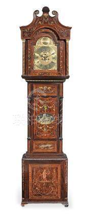 An early 19th century and later mahogany and inlaid and painted eight day long case clock the dial signed Richard Steveton, Drayton (Shropshire)