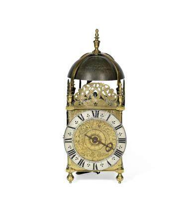 An 18th century and later brass lantern clock