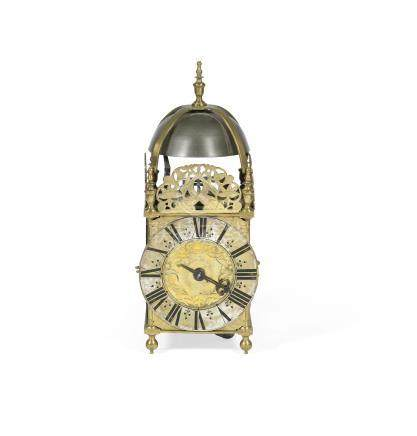 A 19th century brass lantern clock in the 17th century style, the dial signed Richard Browne