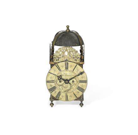 An 18th century and later brass lantern clock the dial signed for Richard Rayment, Bury