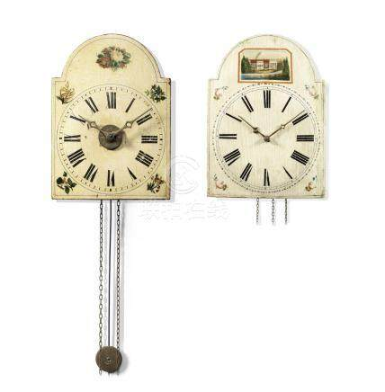 A rare 19th century German weight driven quarter chiming 'Surrerwerk' wall clock with repeat and a similar period weight driven 30-hour wall timepiece 2