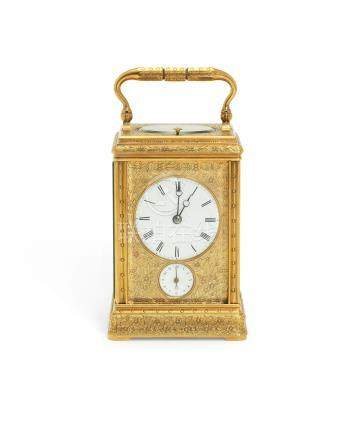 A mid 19th century gilt brass petit sonnerie carriage clock with alarm,  the back plate stamped DG-9677