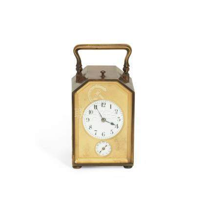An early 20th century French brass carriage clock with alarm and repeat the carrying case stamped Payne & Son, Oxford & Tunbridge Wells (2)