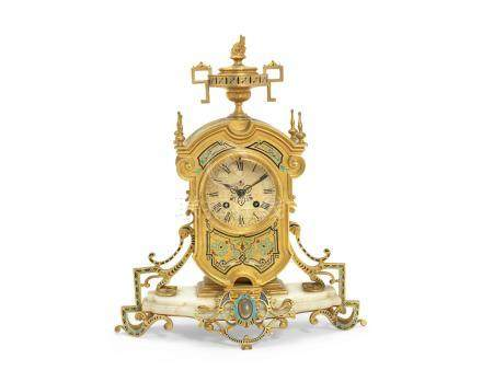 A late 19th century French Champleve enamel, gilt bronze and cream onyx mantel clock the movement stamped Vincenti & Cie