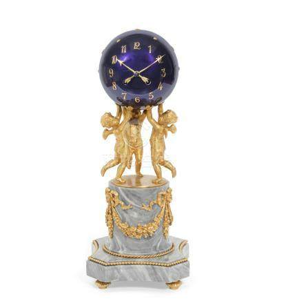 A gilt bronze blue enamel and grey marble figural globe mantel clock in the Louis XVI style