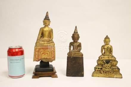 3 gilt wood carved Buddha