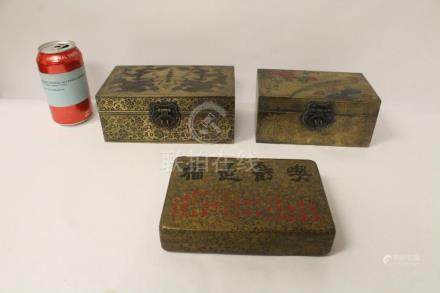 3 Chinese brass tea boxes with decorations on top
